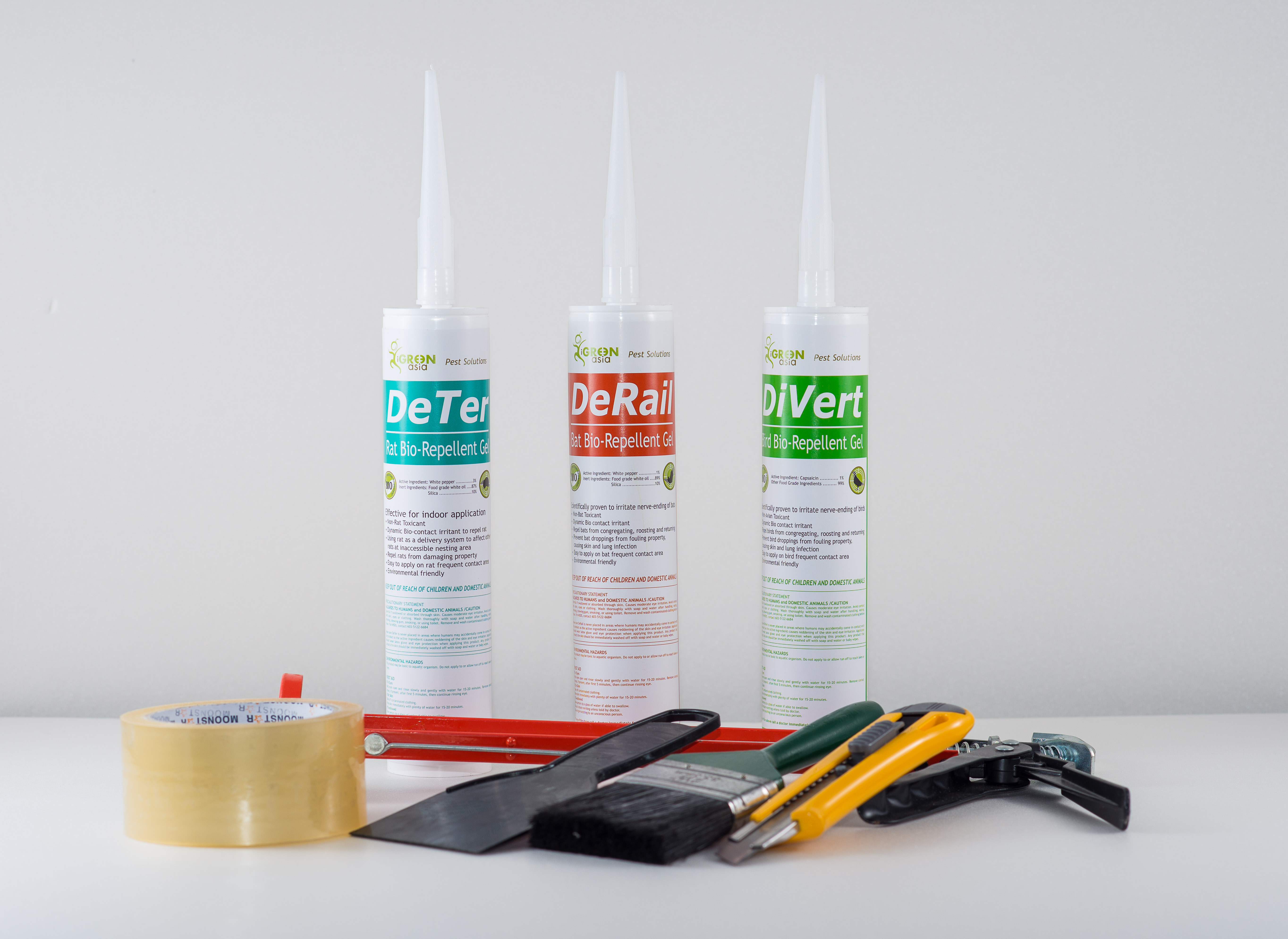 Working Tools: DeTer, DeRail, DiVert Bio-Repellent Gel, Caulking Gun, Paint Brush, Tape, Cutter, Putty Knife, and clear silicone.